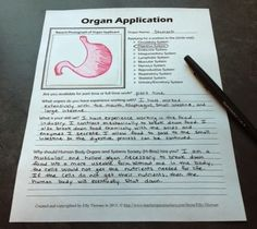 Organ Job Application Assignment: learn about another way for your middle school students to show their understanding of the human body