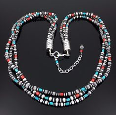 NAVAJO 3 STRAND STERLING SILVER BEAD TURQUOISE CORAL NECKLACE by GENEVA APACHITO