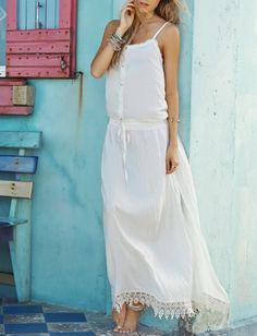 maxi robe dentelle à bretelle -blanc  21.15
