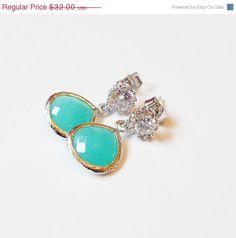 PRE VALENTINES DAY Sale Mint Dangle Earrings  by LyndyLouDesigns, $28.80