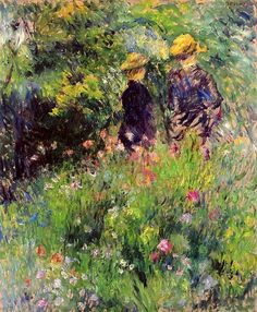 Conversation in a Rose Garden ~ Pierre Auguste Renoir, c.1876; oil on canvas. Impressionism. Private collection.