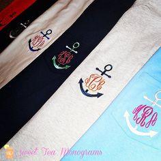 Long Sleeve Anchor Monogram Pocket Tshirt by SweetTeaMonograms, $34.00