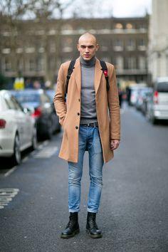 Skinhead in camel coat, light denim and Dr Martens