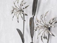 Fresh WAND DEKO Blume I Blumenzweige aus Metall H he cm silber altsilber