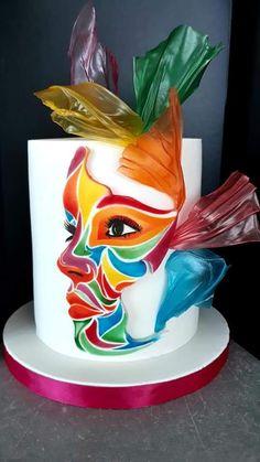 Cake Decorating Designs, Cake Decorating Techniques, Cake Decorating Tutorials, Beautiful Birthday Cakes, Gorgeous Cakes, Amazing Cakes, Fondant Cake Designs, Fondant Cakes, Modern Cakes