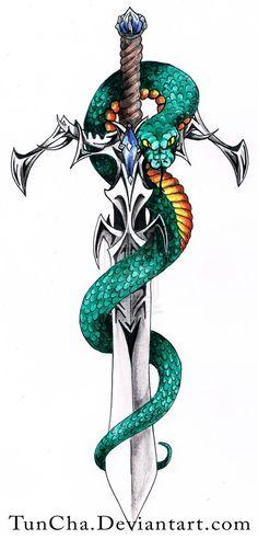 Small Dragon Tattoos, Japanese Dragon Tattoos, Dragon Tattoo Designs, Sword And Rose Tattoo, Sword Tattoo, Dagger Tattoo, Knife Drawing, Sword Drawing, Kunst Tattoos