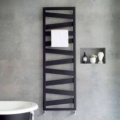 Introducing the new Zehnder Ribbon towel radiator - a super sleek and stylish design suitable for modern bathroom interiors and available in a range of sizes and chrome, white and brand new matt black finishes. Modern Bathrooms Interior, Bathroom Interior Design, Black Bathrooms, Bathroom Modern, Bathroom Radiators, Bathroom Furniture, Rustic Furniture, Bathroom Trends, Bathroom Renovations