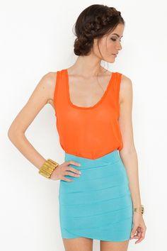 orange + blue bandage skirt