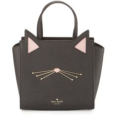 kate spade new york jazz things up hayden small cat tote bag ($345) ❤ liked on Polyvore featuring bags, handbags, tote bags, black, handbags totes, zip top tote, kate spade handbag, zip top leather tote and leather zipper tote