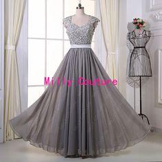 Gris largo de Dama de honor vestido de encaje, vestido de fiesta sin espalda de encaje, vestido largo abierto espalda con manga