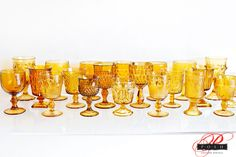 Amber Vintage Glassware available from POSH Couture Rentals Photo credit: Perez Photography