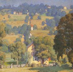 Road to Solebury 1919 - Daniel Garber - Daniel Garber was an American Impressionist landscape painter and member of the art colony at New Hope, Pennsylvania. Impressionist Landscape, Impressionist Artists, Landscape Art, Landscape Paintings, Anime Comics, Imagen Natural, American Impressionism, Pierre Auguste Renoir, American Artists