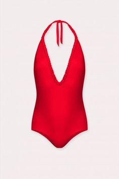 Maillot de bain une pièce rouge Alma Da Onda et échancrure en V plongeant