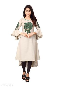 Kurtis & Kurtas Women'S Printed Rayon Slub  Kurti Fabric: Rayon Slub Sleeves: 3/4 Sleeves Are Included Size:  M - 38 in L - 40 in XL - 42 inXXL - 44 in Length: Up To 46 in Type: Stitched Description: It Has 1 Piece Of Women's Kurti Work: Embroidered & Tassel Work Country of Origin: India Sizes Available: M, L, XL, XXL   Catalog Rating: ★4.1 (489)  Catalog Name: Women'S Printed Cotton Kurtis CatalogID_398614 C74-SC1001 Code: 004-7497722-0501