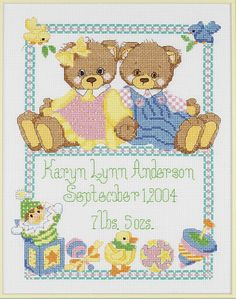 Monsterpatterns.com -Baby Bears Birth Announcement Counted Cross Stitch Kit