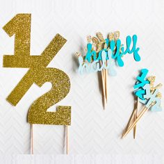 Gold/Silver/Black Glitter 1/2 Birthday Cake Topper & Half Birthday Cupcake Toppers 6 Month  Party Favors Decoration Food Picks-in Cake Decorating Supplies from Home & Garden on Aliexpress.com | Alibaba Group