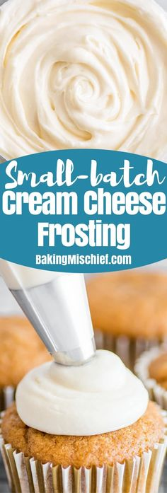 This Small-batch Cream Cheese Frosting recipe issilky smooth, tangy, and very cream cheesy! Small Desserts, Köstliche Desserts, Delicious Desserts, Dessert Recipes, German Desserts, Homemade Desserts, Homemade Breads, Cream Cheese Buttercream Frosting, Oreo Frosting
