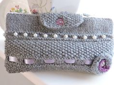 Knitted Grey Sparkle Clutch Bag Kindle Cover £6.50