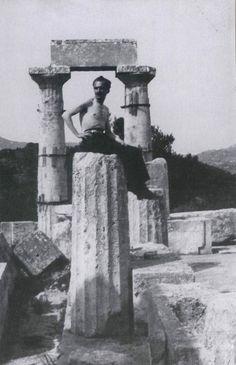 1927 ~ Nikos Kazantzakis at the Temple of Aphaia in Aegina island