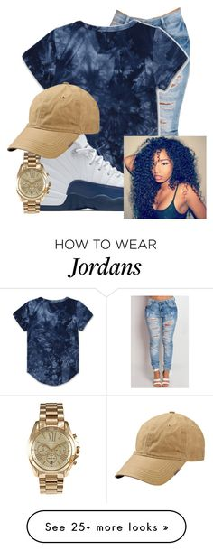 """Untitled #162"" by brooklynnmckenna on Polyvore featuring NIKE and Michael Kors-----Not a Jordan fan but this color scheme is so cute and casual.- AK"