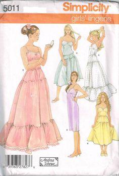 Girls Lingerie Long Slip Camisole Half Slip Bra Simplicity 5011 Sewing Pattern by PeoplePackages