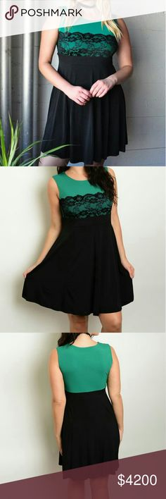 COMING SOON! Sleeveless lace top skater dress. Plus size Black & Green sleeveless lace top skater dress. Will be $42  This is NWOT Retail. Price Firm Unless Bundled.  Measurements Available Upon Request. Dresses Midi