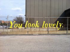 A sweet little message on a chain-link fence / Typography Fence Art by Lambchop