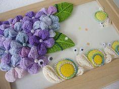 アレンジつまみ 「お散歩 かたつむり」画像1 Diy Flowers, Fabric Flowers, Fabric Animals, Textiles, Craft Accessories, Pin Cushions, Vivid Colors, Sewing Crafts, The Creator