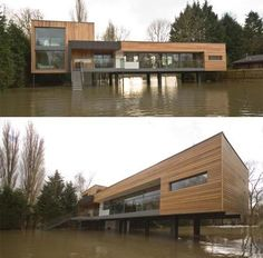 Gorgeous, unique house by John Pardey Architects. Sit's on the banks of a river that tests the homes stilted design when overflowing