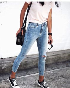 Skinny jeans white t-shirt and black converse: puuuurfect outfit - shirts, long, womens, softball, long, for women shirt *ad