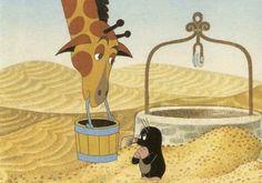 Giraffe helping Krtek to get water from the well