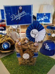 Dodgers baby shower  Centerpiece