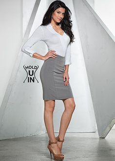Slimming Pencil Skirt from VENUS women's swimwear and sexy clothing. Order Slimming Pencil Skirt for women from the online catalog or Skirt Outfits, Dress Skirt, Colored Tights Outfit, Denim Fashion, Fashion Outfits, Fashion Women, Women's Fashion, Womens Bodysuit, Short Skirts