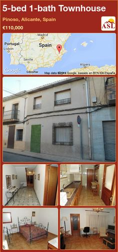 Townhouse for Sale in Pinoso, Alicante, Spain with 5 bedrooms, 1 bathroom - A Spanish Life Portugal, Alicante Spain, Living Room With Fireplace, Laundry Room, Townhouse, Bbq, Floor Plans, Patio, Bathroom