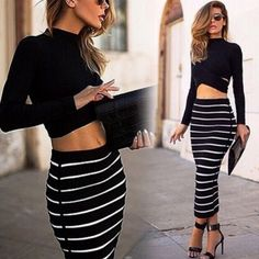 Lady Women\'s Striped Bodycon Stretch Sexy Dress Long Sleeve Tops Blouse + Long Skirt  US$ 5.89