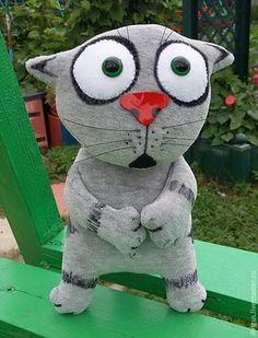 Игрушки животные, ручной работы. Ярмарка Мастеров - ручная работа. Купить Серый испуганный котенок. Handmade. Серый, дингус, другу