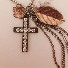 """Selling this """"Betsey Johnson cross necklace Angel Cupid chain"""" in my Poshmark closet! My username is: pinkbowsnbling. #shopmycloset #poshmark #fashion #shopping #style #forsale #Betsey Johnson #Jewelry"""