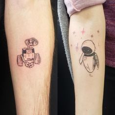 Disney Couple Tattoos That Prove Fairy Tales Are Real Matching Disney Tattoos, Disney Couple Tattoos, Cute Couple Tattoos, Wrist Tattoo Cover Up, Cover Up Tattoos, Lilo And Stitch Tattoo, Wind Tattoo, Girlfriend Tattoos, Mickey Tattoo