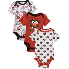 Disney Newborn Boys' Animal Onesies 3 Pack