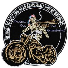 inchEmbroidered PatchIron on or Sew on ApplicationPlastic Backing & Die Cut Borders Motorcycle Patches, Biker Patches, Skull Patches, Arms, Bear, Personalized Items, Sewing, 4x4, Craft