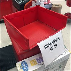 "This CoronaVirus Quarantined Item Bulk Bin is evidence of an on-the-ball staff. And no matter if ""Quarantine Until Cleaned"" or ""Quarantined But Cleaned"" Cedar Crest, Bin Store, Shelves For Sale, Store Fixtures, Cold Remedies, Target, Retail, Cleaning, Red"