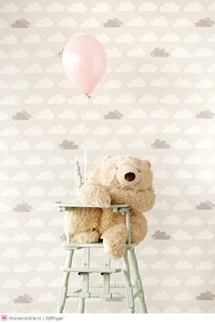 Eijffinger Tout Petit Wallpaper Clouds White and Grey 354073 Wallpaper Collection, Cloud Wallpaper, Toy Rooms, Happy Baby, Kid Spaces, Kidsroom, Interior Design Inspiration, Baby Room, Playroom