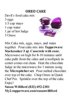 Tupperware Oreo Cake - Microwave Stackcooker Recipe