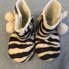 Zebra fuzzy baby boots Like new Motherhood Maternity Shoes Ankle Boots & Booties