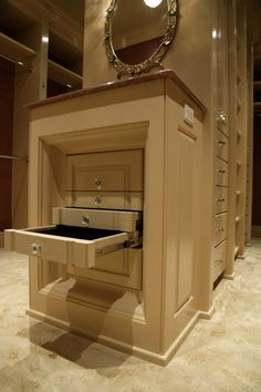 Walk-in closet with jewelry cabinet built in
