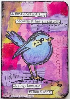 """""""A Birds Song"""" art journal page on recycled carton package. Collage. Dina Wakley stamp."""