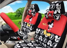 New Mickey Mouse Car Seat Covers Accessories Set 18PCS TL15-51M #Disney