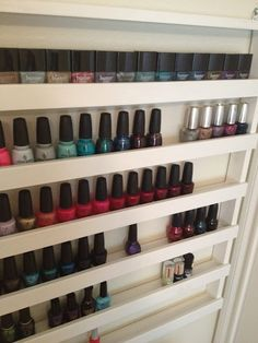 Build Your Own Nail Polish Rack - Unless you are painting it the color of the wall it will be hanging on, I think it needs a back.      It also needs to be painted a color.