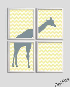 Nursery Boy Art Chevron Yellow Grayl Giraffe set of by ZeppiPrints, $48.00
