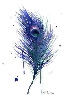 Watercolor Illustration Peacock Feather by JessicaIllustration
